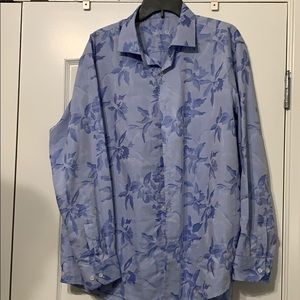Blue floral button down